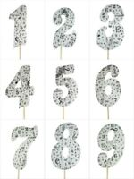 "MUSICAL Print Design Birthday NUMBER Cake Topper 5.5"" Tall Choose Number"