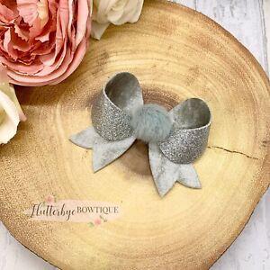 Pom Pom Bow, Silver Glitter Bow