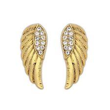Gold Large Crystal Fairy Angel Wings Jewellery Stud Earrings