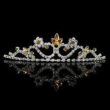 Kids Golden Flower Girl Children Wedding Prom Tiara Crown Headband - Kid Size