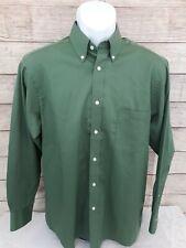 Izod 16 32/33 Men's Dress Shirt Solid Green Wrinkle Free Quick Dry Long Sleeve