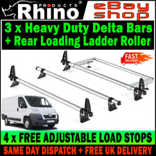 LOW-H1 Peugeot Boxer Roof Bars Rack x3 Rhino With Rear Roller For 2006-2020 Van