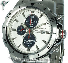 New SEIKO SOLAR SILVER DIAL CHRONOGRAPH With STAINLESS STEEL BRACELET SSC553P1