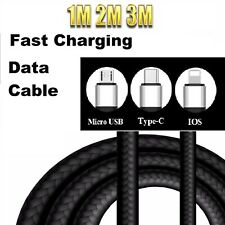 1 2 3M Braided USB 2A Lightning Fast Charge Data Cable For iPhone Samsung