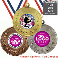 STREET DANCE MEDALS 50mm, PACK OF 10,RIBBONS, INSERTS or OWN LOGO & TEXT