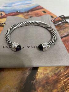 DAVID YURMAN 7MM DIAMOND/AMETHYST CLASSIC CABLE BRACELET IN SS. Medium