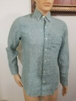 J.CREW Men's green 100% Linen Slim Fit long sleeve shirt S button down