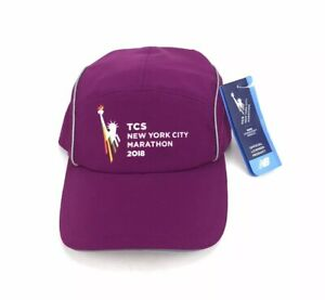 NEW New Balance TCS New York City Marathon 2018 Purple White Hat Cap Adjustable