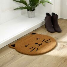 Natural coir doormat round cat face shape door mat home garden accessories gift