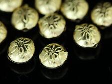 KG-284 KSB THAI KAREN HILL TRIBE SILVER 4 GOLD VERMEIL FLOWER ROUND PUFFY BEAD