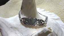 "James Avery Retired 925 Sterling Silver Hearts & Flowers Bracelet 7"" Long"