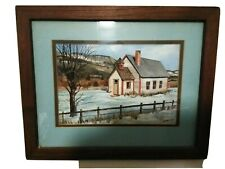 Vintage durlin keller painting art 1980 school house / church 12x15