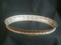 Vintage Oval Dresser Boudoir Vanity Tray Metal Filigree Mirror
