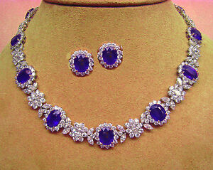 BIG SIZE NATURAL BLUE SAPPHIRE OVAL NECKLACE EARRINGS IN PLATINUM FINISH