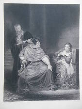 Orginal c1880 Antiquarian Engraving -  Joan of Arc in Prison and King Henry VI