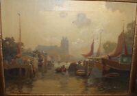 JAN KNIKKER JR OIL PAINTING LISTED DUTCH ARTIST RIVER CANAL VIEW