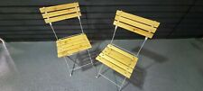 More details for metal and wood folding bistro chairs