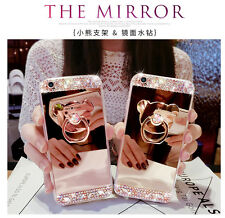 Luxury Bling Diamond Crystal Mirro Case Cover With Ring Holder Stand Kickstand