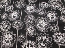 Black/White Dandelion Floral Superior Cotton Sateen Blend Printed Dress Fabric.