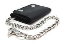 Biker Trucker 111 Black RFID Mens Leather Trifold Chain Wallet Snake Texture sty