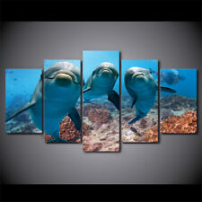 Deep Ocean Swimming Dolphin 5 Pieces Canvas Wall Art Poster Print Home Decor