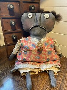 FARMHOUSE DECOR PRIMITIVE GRUNGED RUSTIC CLOTH HANDMADE BLACK FOLK ART DOLL