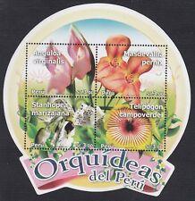 Pérou Feuille block 58 2010 orchidées Pérou fleur flore flower orchid MNH