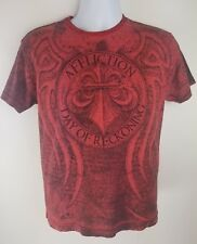 Affliction Mens S T-Shirt UFC Red Distressed Day of Reckoning Fedor Vs Arlovski