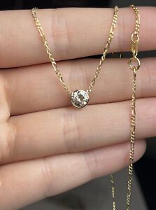 """.95CT Natural Round Diamond Solitaire Floating 14K Yellow Gold Necklace 16"""""""