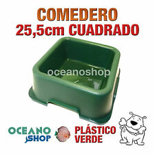 COMEDERO BEBEDERO CUADRADO PERRO PLÁSTICO VERDE 25,5cm RESISTENTE D107 0002