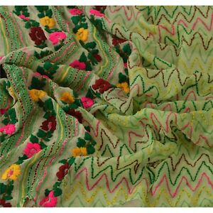 Tcw  Vintage Dupatta Long Stole Pure Chiffon Silk Green Hand Embroidered