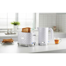 Modern Kitchen 3000W 1.5L Diamond Kettle & 2 slice Toaster Set- White
