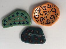 Vtg Porcelain Ceramic Artist Signed Large Asymmetrical Novelty Buttons Lot of 3