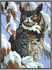 "Winter Watch Owl Paint by Number Kit 11"" x 14"""