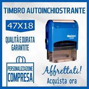 TIMBRO MACCHINETTA AUTOINCHIOSTRANTE + GOMMINA RESINA - 47x18 - PERSONALIZZATO