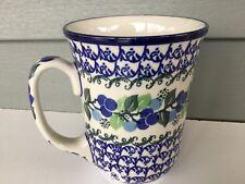 NEW C.A. Polish Pottery 16 oz Bistro Mug-Blue Berries