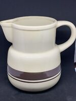 Vintage McCoy Pottery Stoneware Cream Pitcher with Brown Stripes
