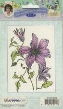 New Studio Light Janneke Brinkman A6 Rubber Stamp CLEMATIS FLOWERS free USA ship