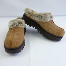 Skechers Shindig 46330 Brown Suede Quilted Faux Fur Lined Clogs Womens Size 10