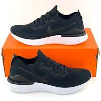 Nike Epic React Flyknit 2 Black Gunsmoke Running Shoes Sneakers White BQ8928 002