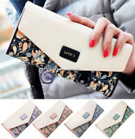 Fashion Womens Clutch PU Leather Wallet Envelope Long Card Holder Purse Handbag