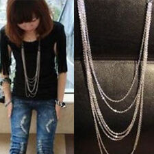EP_ Vintage Style Multi-Layer Women Silver Tone Sweater Long Chain Necklace Note