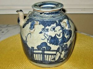 Antique Chinese Export Blue and White Teapot Great Look