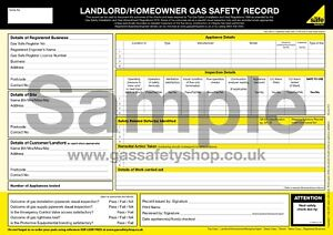 Gas Safe - Landlord / Homeowner Gas Safety Record Pad