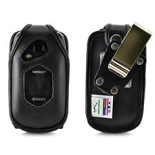 DuraXV LTE Verizon E4610 FITTED CASE Black Leather Removable Belt Clip Holster