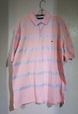 Tommy Hilfiger Pink White Blue Polo Shirt Stripes X Large XL