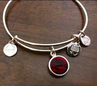 💓 Alex And Ani Red January Birthstone Bracelet Bangle Red Garnet Silver tone