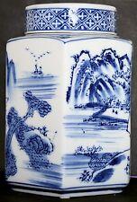 """7"""" (17.5 cm) CHINESE TEA CADDY con guarnizione-ESAGONALE DESIGN PAESAGGIO"""
