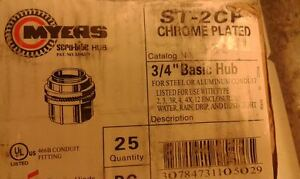 """lot/25 CROUSE -HINDS MYERS  ST-2CP 3/4"""" CHROME PLATED BASIC STHUB  ORIGINAL new"""