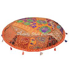 Indian Patchwork Cotton Pouf Cover Vintage Handmade Embroidered Floor Pillow